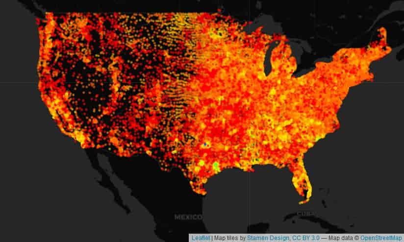 Density of Providers Per Zip Code in US