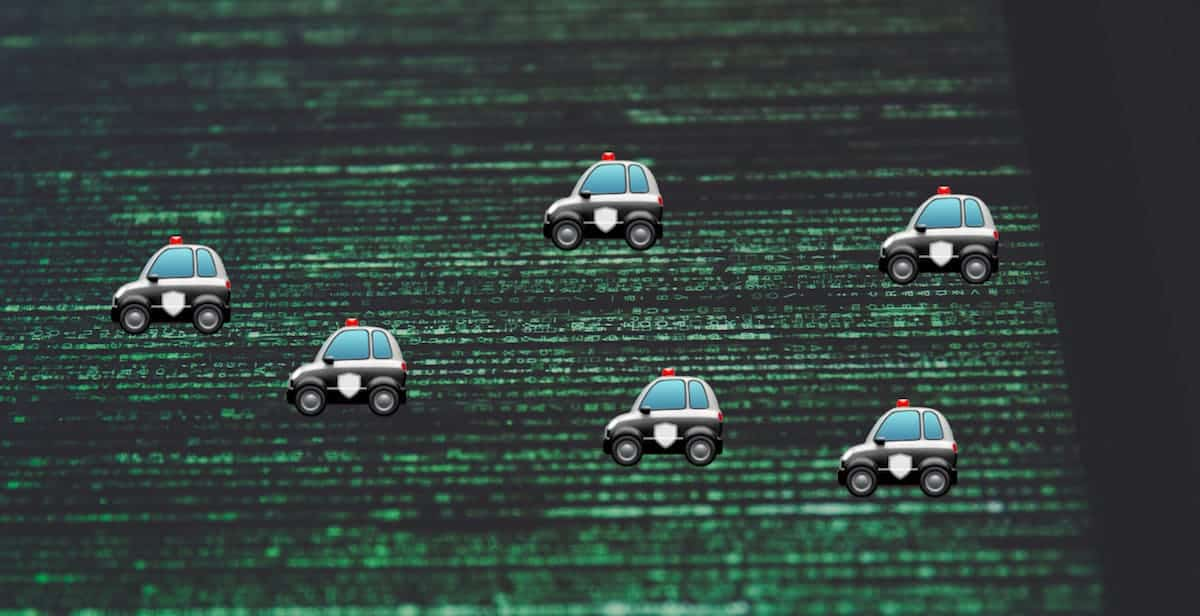 Illustration of police on Internet superhighway.