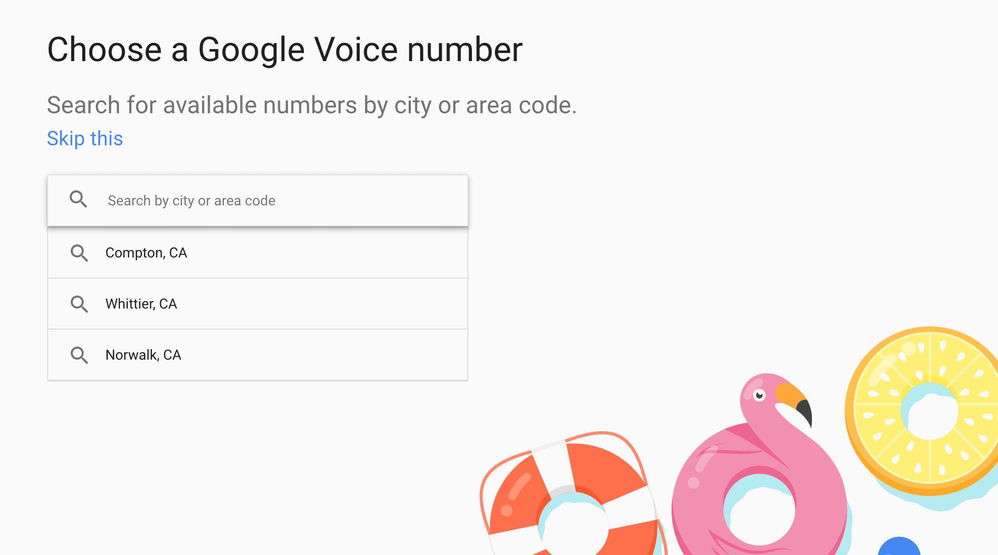 Screenshot of the Google Voice homepage.