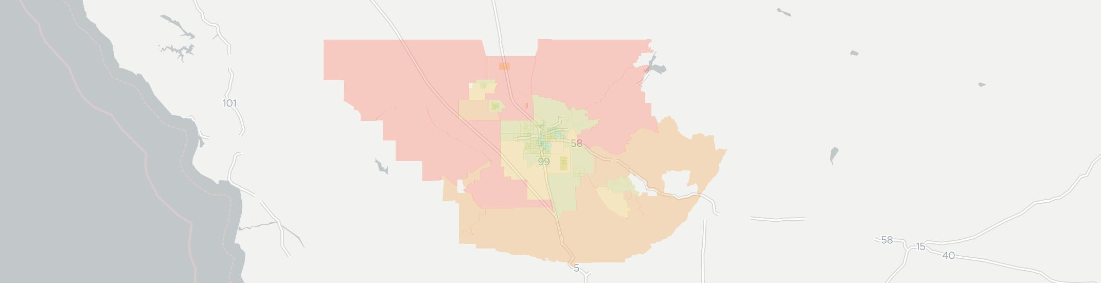Bakersfield Internet Competition Map. Click for interactive map.