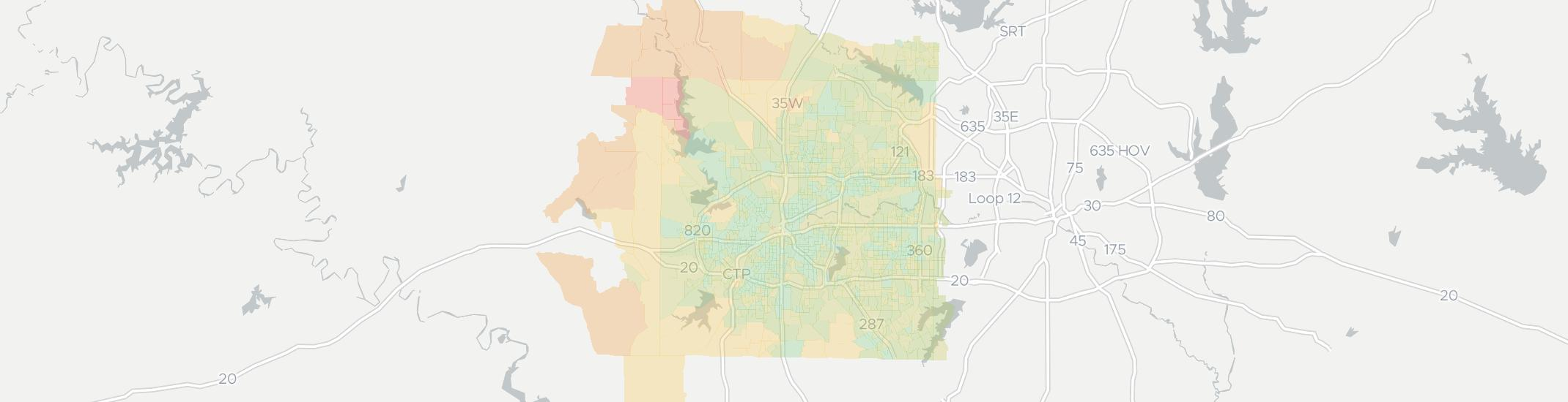 Fort Worth Internet Competition Map. Click for interactive map.