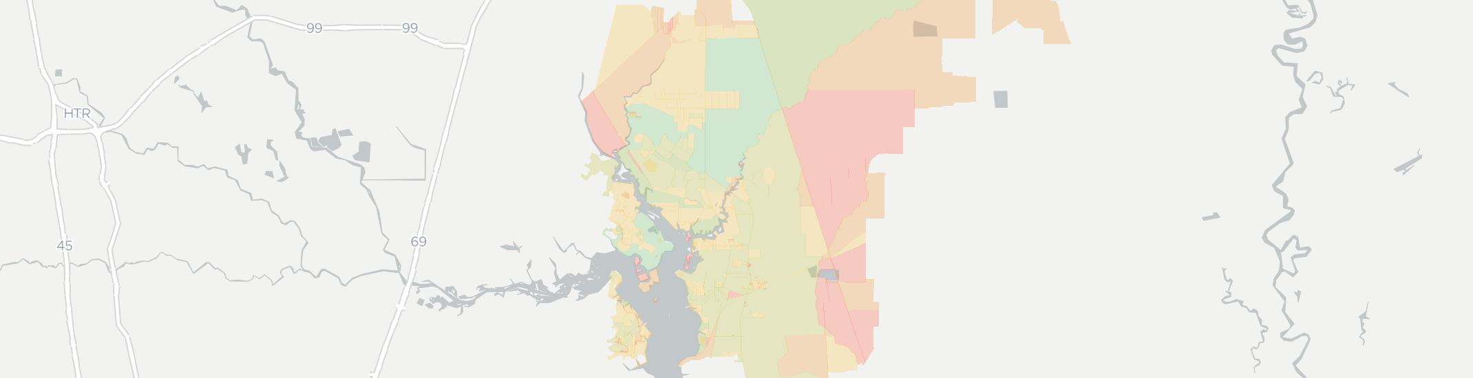 Huffman Internet Competition Map. Click for interactive map.