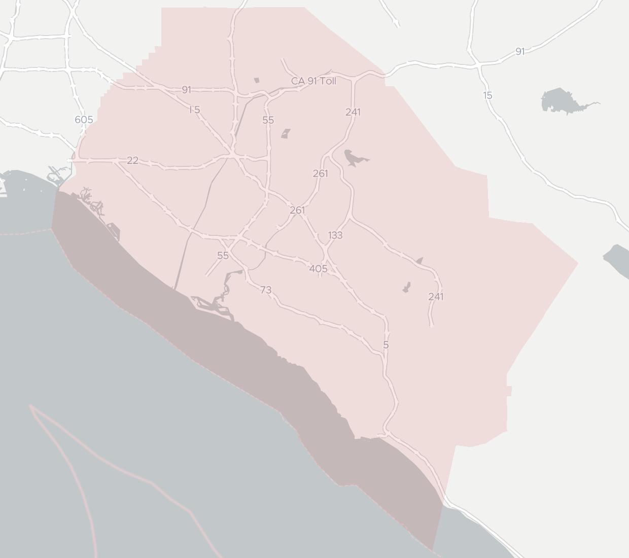 West Coast Internet Availability Map. Click for interactive map.